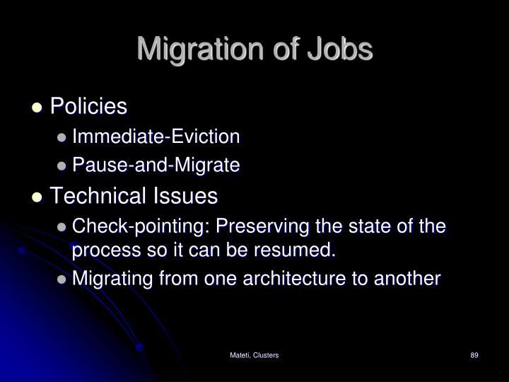 Migration of Jobs