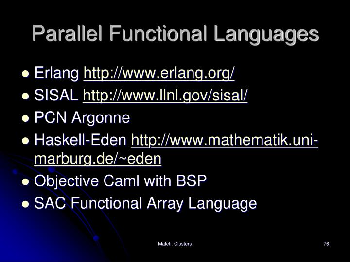 Parallel Functional Languages