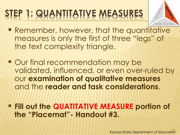 "Remember, however, that the quantitative measures is only the first of three ""legs"" of the text complexity triangle."