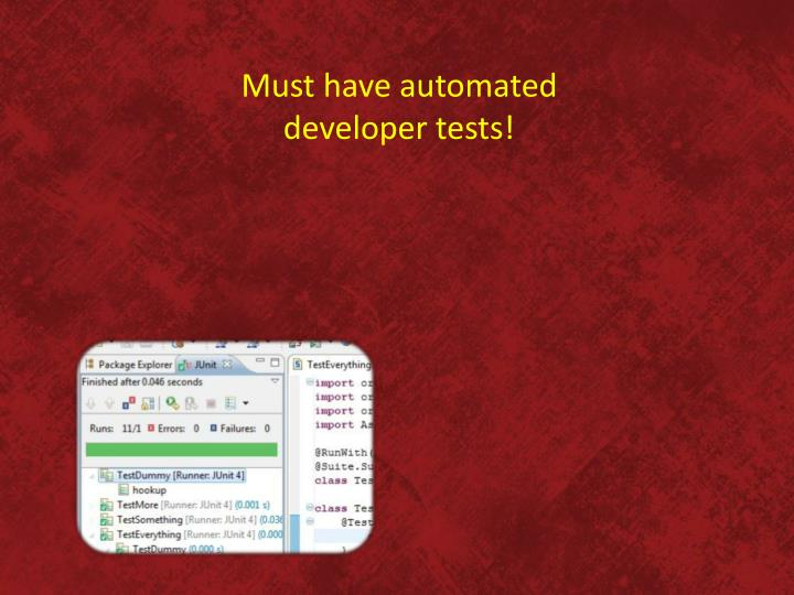 Must have automated developer tests!