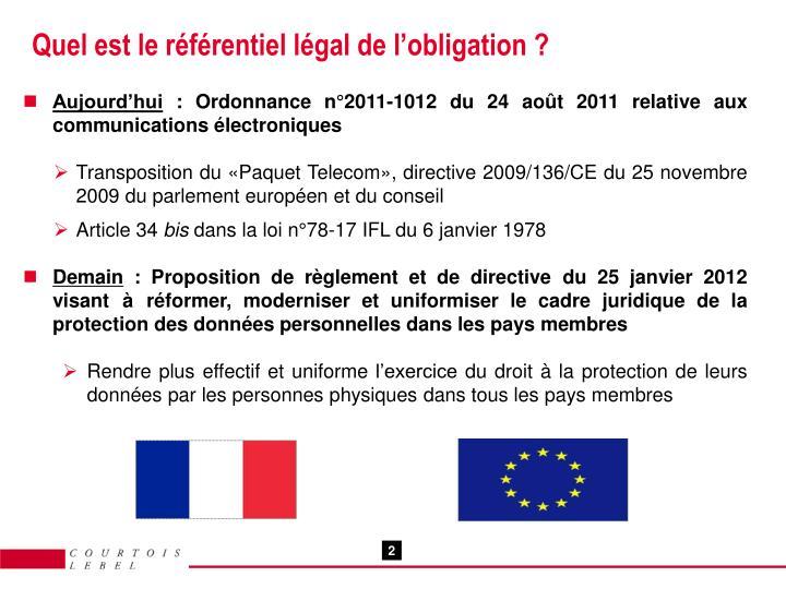 Quel est le référentiel légal de l'obligation ?