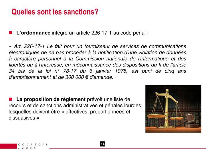 Quelles sont les sanctions?