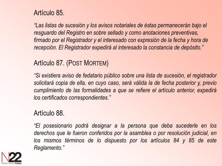 Artículo 85.