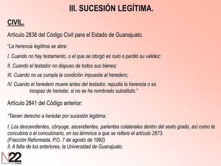 III. SUCESIÓN LEGÍTIMA.