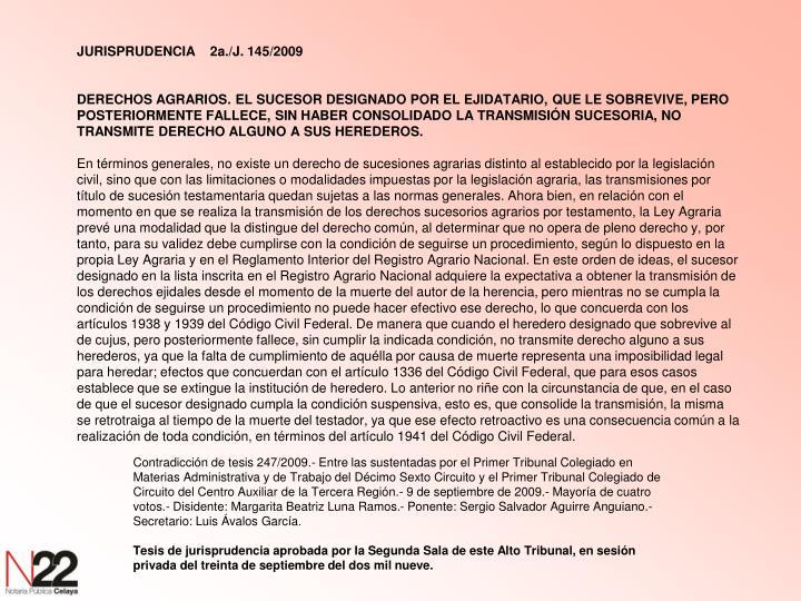 JURISPRUDENCIA2a./J. 145/2009