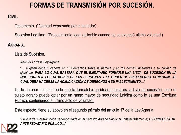 FORMAS DE TRANSMISIÓN POR SUCESIÓN.