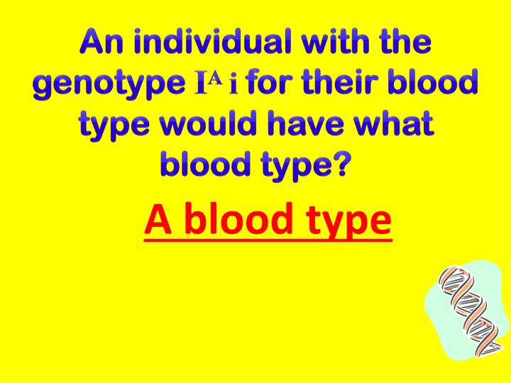 An individual with the genotype