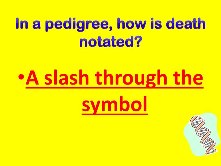 In a pedigree, how is death notated?