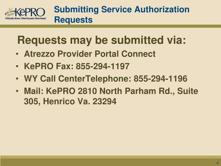 Submitting Service Authorization Requests