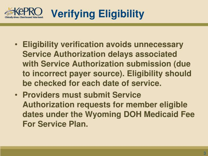 Verifying eligibility