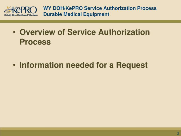 Wy doh kepro service authorization process durable medical equipment