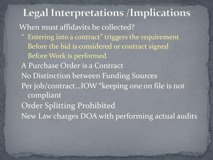 Legal Interpretations /Implications