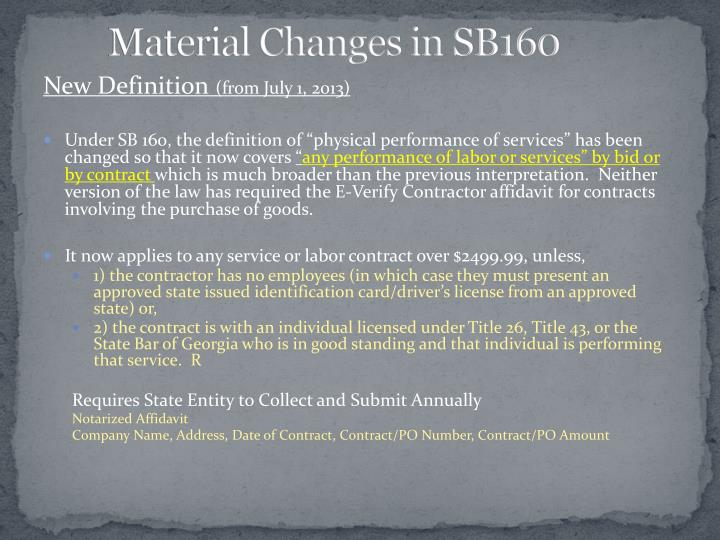 Material Changes in SB160