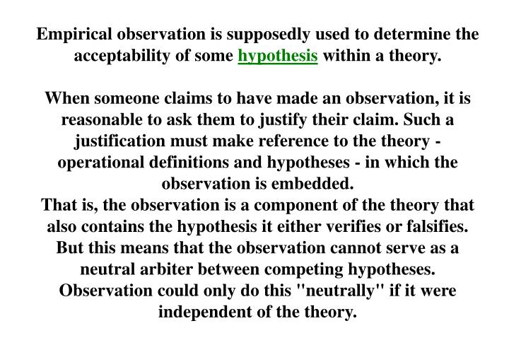 Empirical observation is supposedly used to determine the acceptability of some