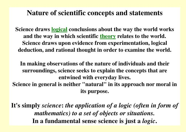Nature of scientific concepts and statements