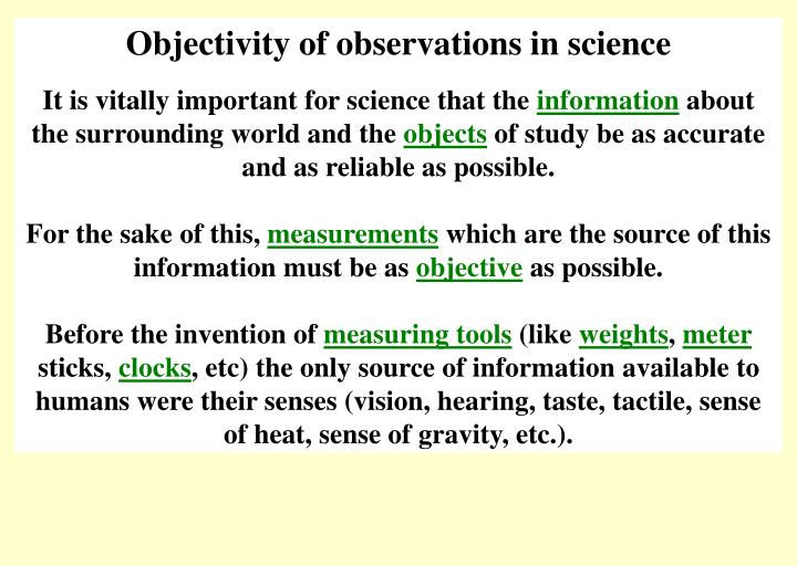 Objectivity of observations in science