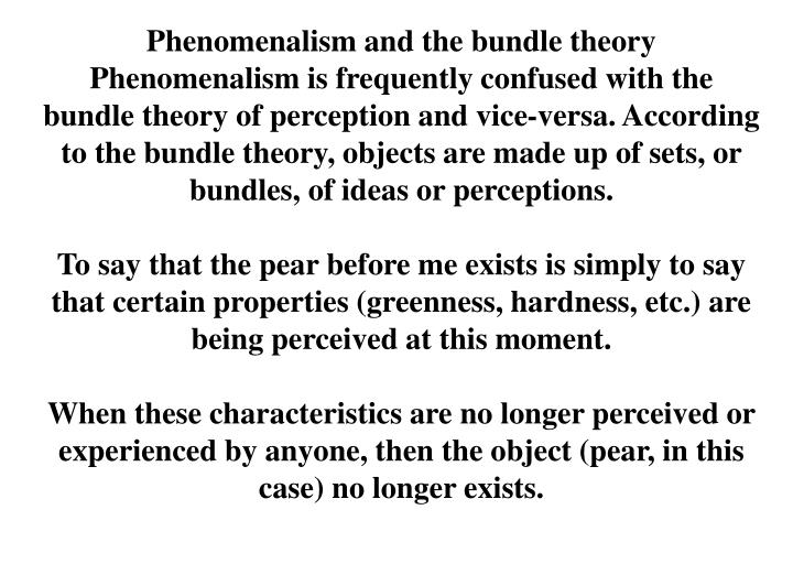 Phenomenalism and the bundle theory