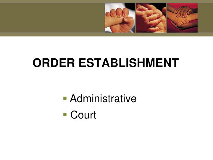 ORDER ESTABLISHMENT