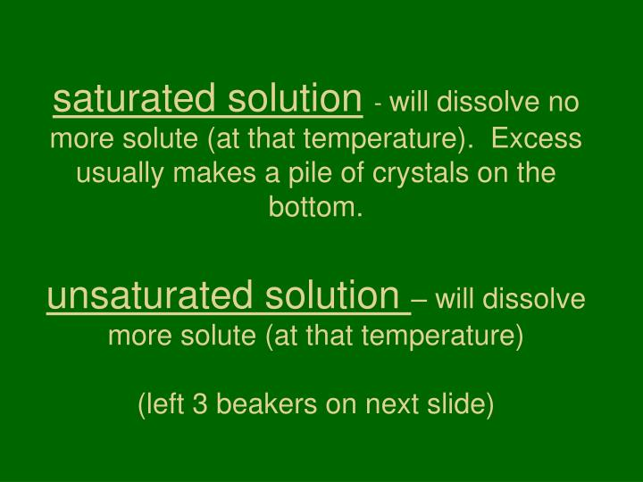 saturated solution