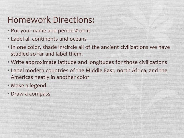 Homework Directions: