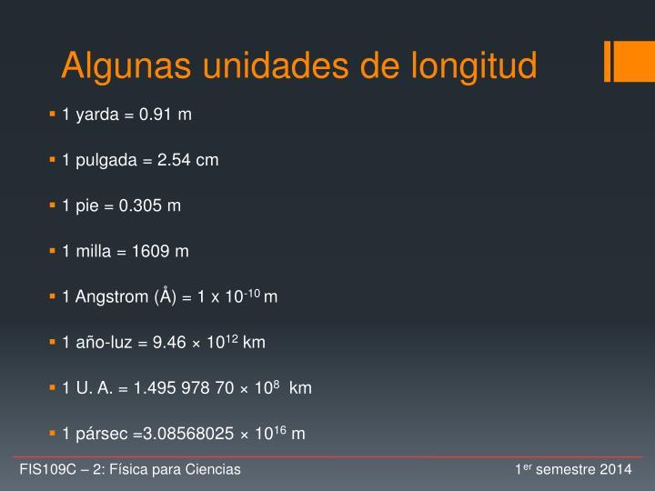 Algunas unidades de longitud