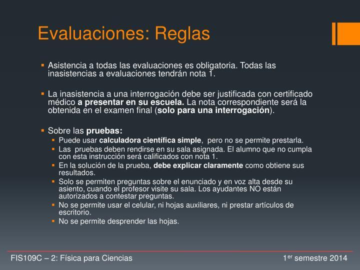 Evaluaciones: Reglas