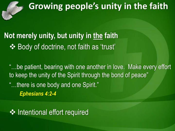 Growing people's unity in the faith