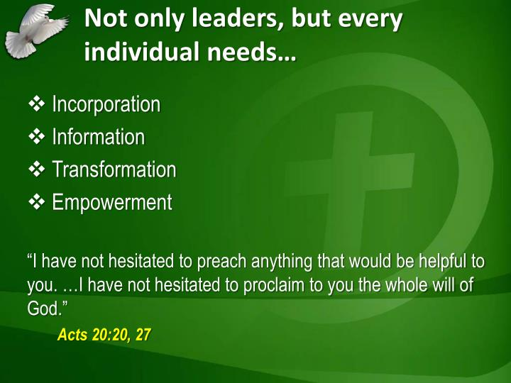Not only leaders, but every individual needs…