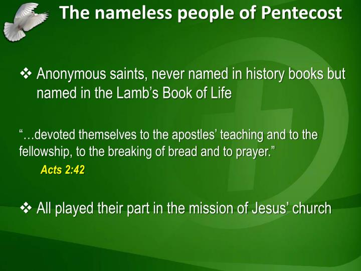 The nameless people of Pentecost