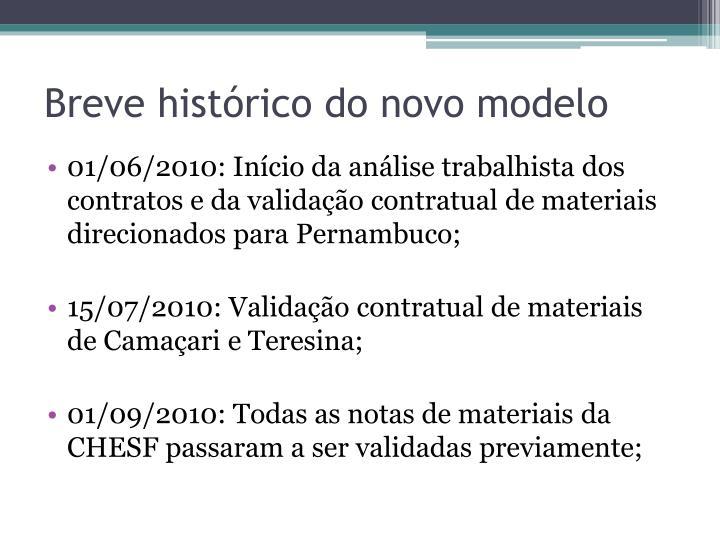 Breve histórico do novo modelo