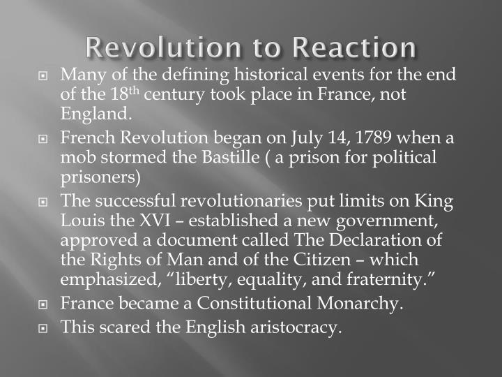 Revolution to reaction