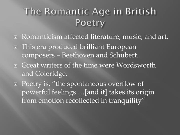 The Romantic Age in British Poetry