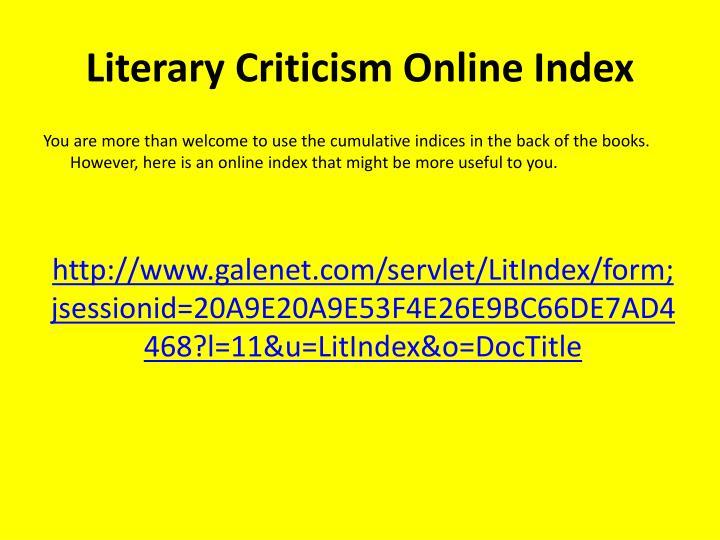 Literary Criticism Online Index