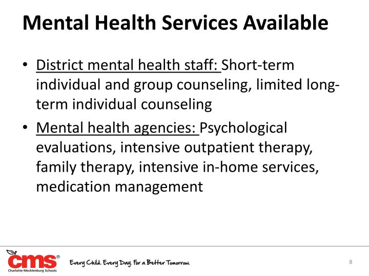 Mental Health Services Available