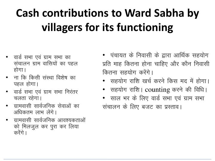 Cash contributions to Ward Sabha by villagers for its functioning