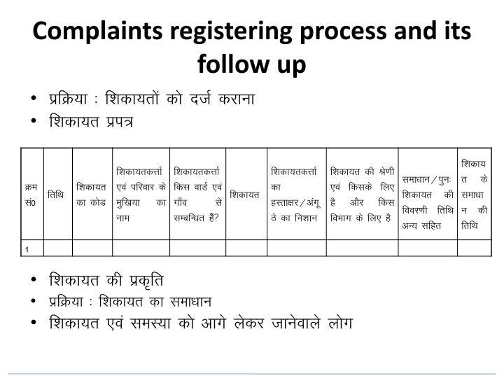 Complaints registering process and its follow up