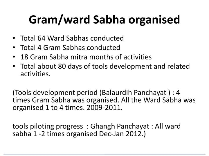 Gram/ward Sabha organised