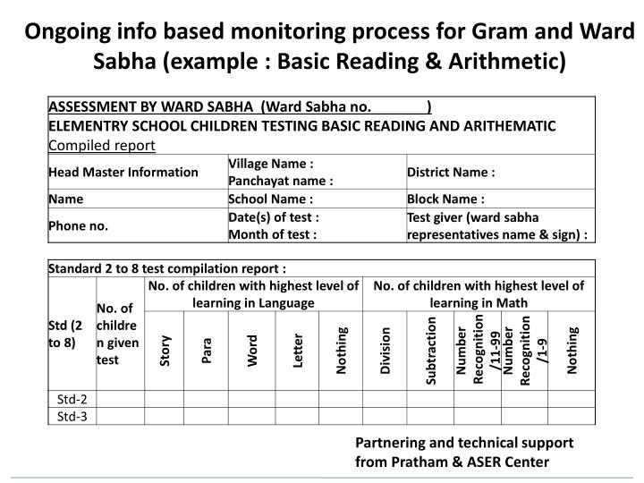 Ongoing info based monitoring process for Gram and Ward Sabha (example : Basic Reading & Arithmetic)