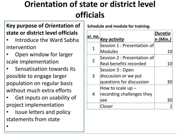 Orientation of state or district level officials