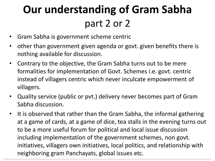 Our understanding of Gram Sabha