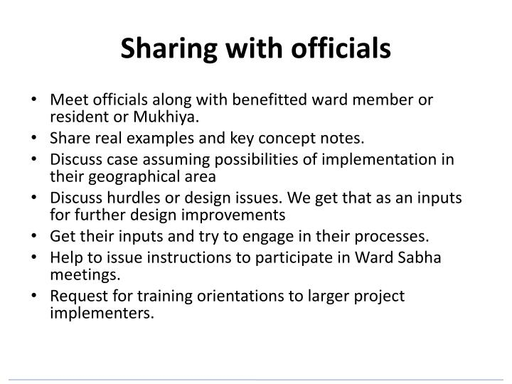 Sharing with officials