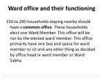ward office and their functioning
