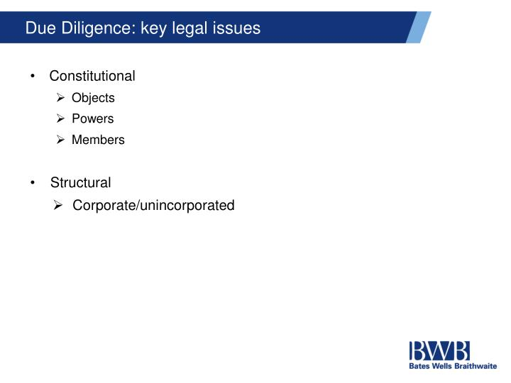 Due Diligence: key legal issues