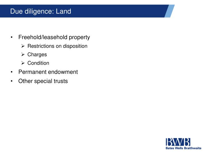 Due diligence: Land