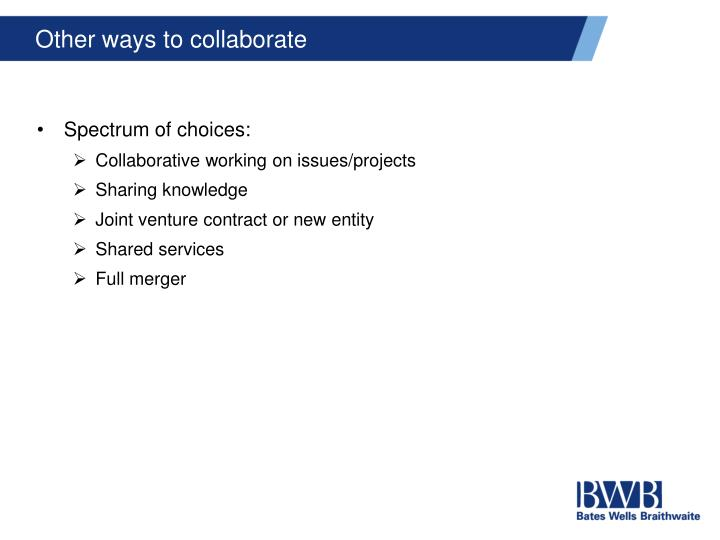 Other ways to collaborate