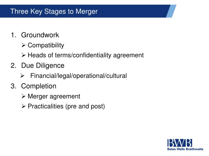 Three Key Stages to Merger