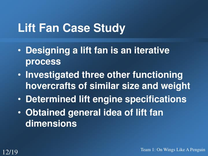 Lift Fan Case Study