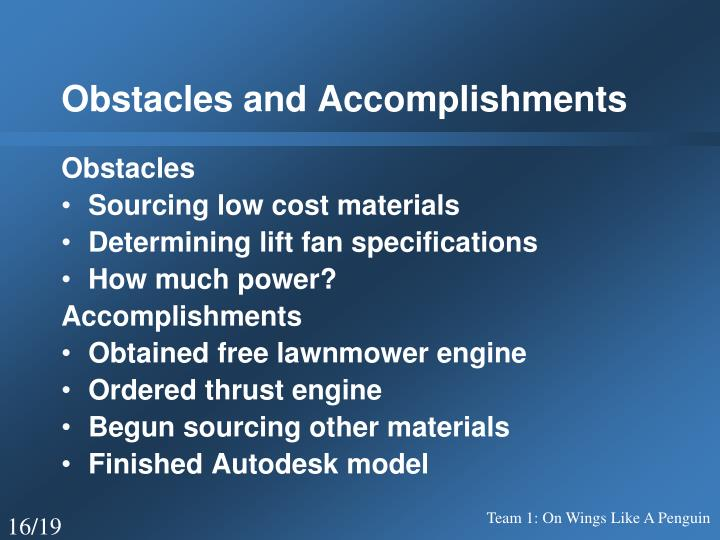 Obstacles and Accomplishments