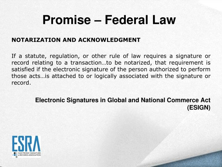 Promise – Federal Law