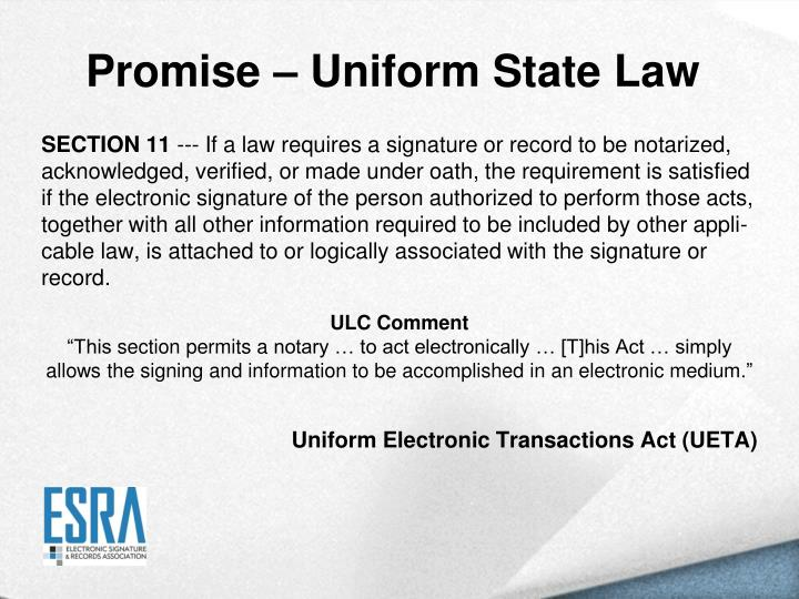 Promise – Uniform State Law